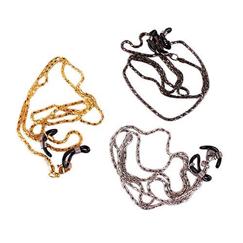 TININNA 3 pcs Métal Sport Lunettes de Soleil Support Sangle Eyewear Retainer avec Grip Caoutchouc Eyewear Cordon Tour de Cou Corde Support