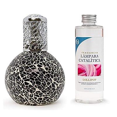 Anti-humidité Pack Lampe catalytique Mosaïque Noir 200 ml + Parfum d'ambiance (Lollipop, 500 ml)