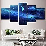 Oficina Lienzo Pintura Cometa volando en el cielo azul de la estrella 5 Piezas Arte de la pared Pintura Fondos de pantalla modulares Impresión de póster Decoración para el hogar