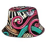Sombrero de pescador 3D partitura musical nota musical piano plegable sombrero verano sombrero sol para hombres mujeres negro