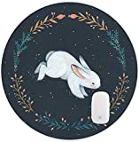 TuMeimei Non-Slip Rubber Round Mouse Pad,Cute White Rabbit Design Round Mouse pad (7.87 inch x 7.87 inch)