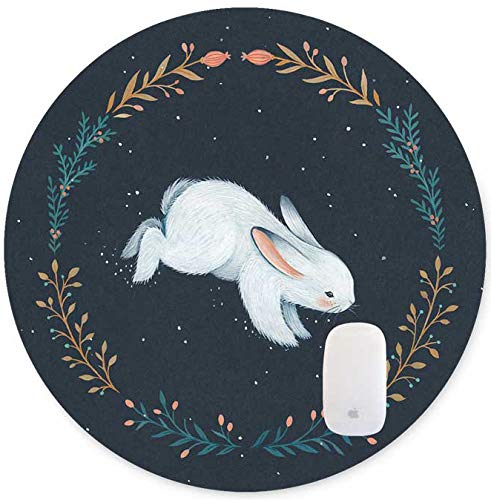 TuMeimei Non-Slip Rubber Round Mouse Pad,Cute White Rabbit Design Round Mouse pad (7.87 inch x 7.87 inch)