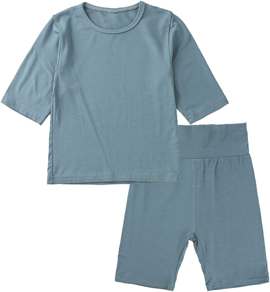 1-6T Baby Boy Clothes Pajamas Girl High Waist Short Underwear T-Shirts Pants Solid Clothing 2PCS Outfit Toddler Boy Set