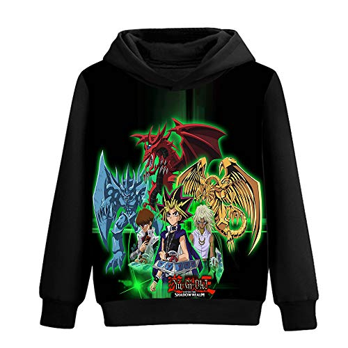 Ukjhocov Yu-Gi-Oh Pullover Anime 3D-Farbdruck mit Kapuze Sweatshirt aus Reiner Baumwolle Loses bequemes Pullover (Color : A10, Size : M)