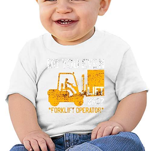 Camiseta Huahai para niños de manga corta con elevador de horquilla profesional para niños al aire libre, blanco, 12M