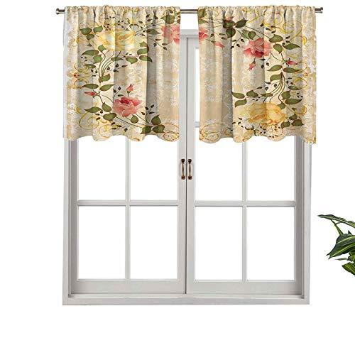 Hiiiman Cortinas con cenefa extra corta con aislamiento térmico, forma ovalada, corona floral con hojas rosas sobre damasco, juego de 1, paneles decorativos para el hogar de 132 x 45 cm
