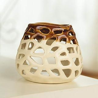 Creative Ceramic Essential Oil Burner Glazed Hollowing Design Wax Melts Burne for Home Bedroom Decor Christmas,Beige