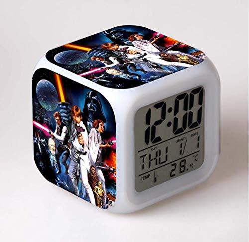 SXWY Reloj Despertador Digital Star Wars, Luces Coloridas Reloj Despertador con Humor Cuarteto Disponible Carga USB Adecuado para Niños Y Niñas Niños,11
