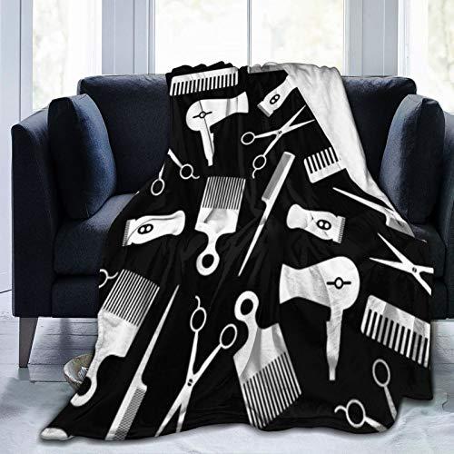 Bernice Winifred Manta de Forro Polar Ultra Suave con patrón de Silueta de Herramienta para el Cabello Negro Hecho de Franela Anti-Pilling, más cómoda y cálida.80x60