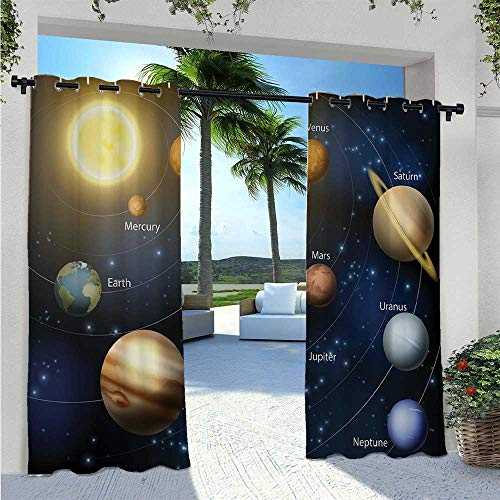 Outdoor Waterproof Curtain Solar System Orbit The Sun with Names of Planets Geography Educational Home Fashion Window Drapes Windproof and Add Some Coolness as Well W120 x L84 Inch