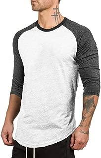 ZUEVI Men's 3/4 Sleeve Crew Neck T-Shirts Casual Novelty Color Block Raglan Jersey Shirt