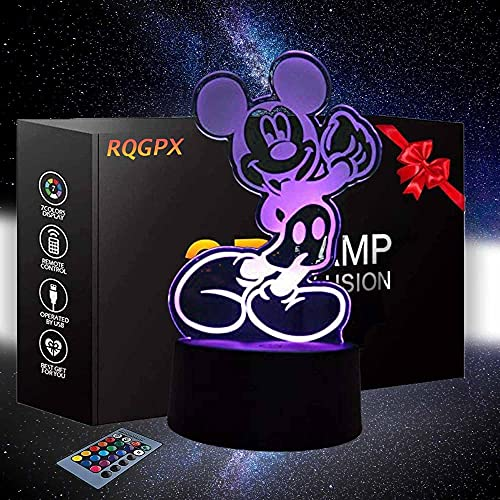3D ilusión lámpara noche luz Mickey Mouse 16 colores óptico USB LED Nightlight para niños vacaciones regalo decoración