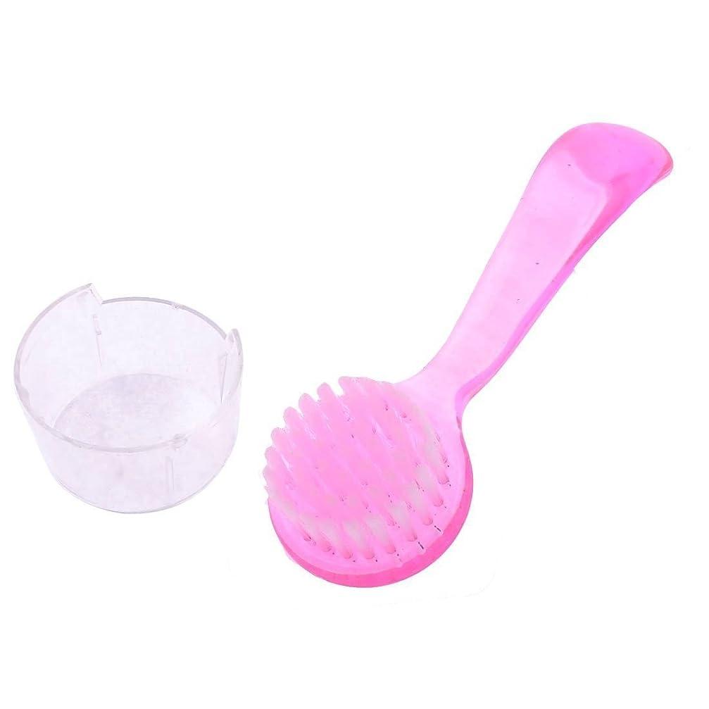 SODIAL プラスチック製すべり止めグリップ ラウンドブリストルフェイスクレンジングブラシ 洗顔ブラシ ピンク色