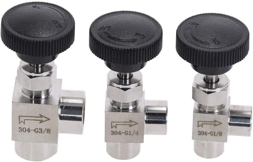 Fittings Stainless Steel 304 Needle Valve 1//8 1//4 1//2 inch BSP Right Angle Female Thread Adjustable Control Valves for Water Gas Oil Specification : 1//8 BAIJIAXIUSHANG-TIES Valves