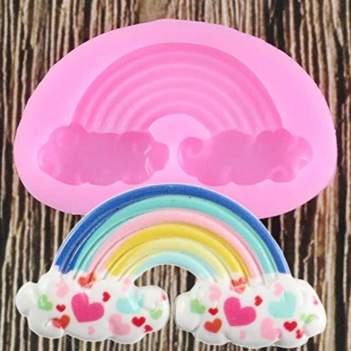 Molde de silicona 3D Rainbow Molde de fiesta de cumpleaños para bebé Herramientas de decoración de pasteles Molde de fondant Moldes de goma de mascar de caramelo de chocolate Moldes para hornear