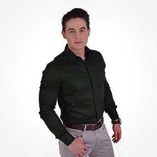 Camisa Social Masculina Super Slim Verde Musgo 200115