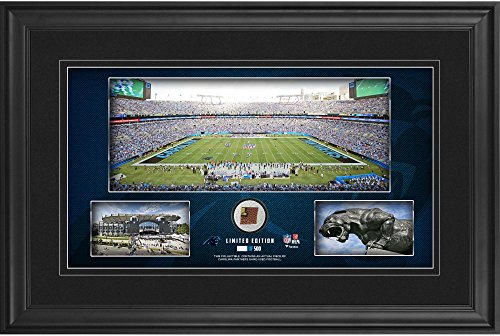 """Carolina Panthers Framed 10"""" x 18"""" Stadium Panoramic Collage with Game-Used Football - Limited Edition of 500 - NFL Game Used Football Collages"""