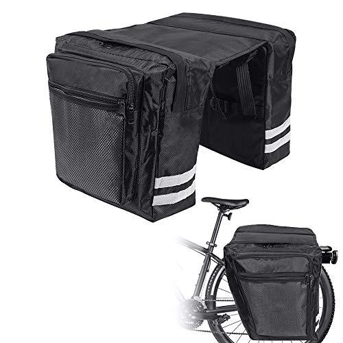 KIPIDA Borsa per Bicicletta, Borse Bici Posteriore, Borsa per Bicicletta Portapacchi,Borsa Bicicletta Impermeabile con Tracolla Striscia Riflettente per Bici da Corsa, Mountain Bike (Nero)