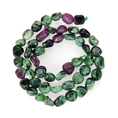 3 Strands Top Quality Natural Ruby Zoisite Gemstone 8-10mm Free Form Oval Pebbly Stone Beads (total ~ 45 Inch) for Jewelry Craft Making GZ12-78