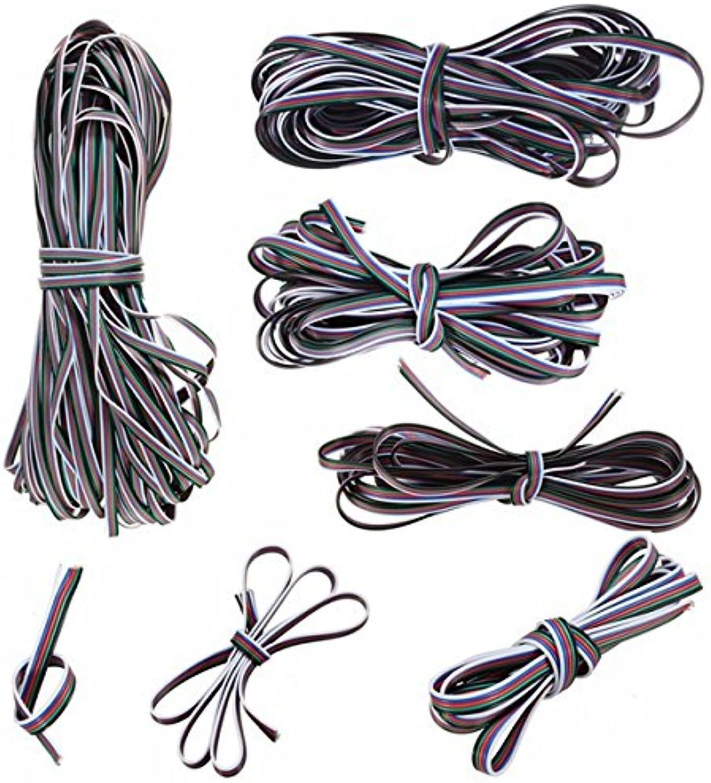 Wuchance 1M-50M 5 Pin Verlngerungskabel Netzkabel für 3528 5050 RGBW LED Streifen Licht (Größe   50M)