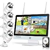 YESKAMO Wireless CCTV Camera System, 2 Way Audio Floodlight 3MP CCTV Cameras 12 Inch IPS Monitor...