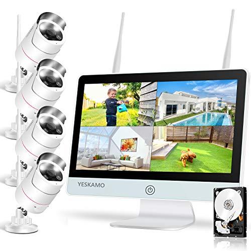 "Floodlight Wireless CCTV Camera System with 12"" IPS Monitor 2 Way Audio,3MP..."