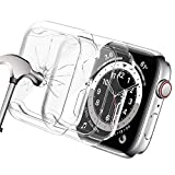 Yolovie (2 Pack) Tempered Glass Screen Protector Case Compatible for Apple Watch 44mm, Waterproof Soft TPU Cases HD Clear Protective Film Cover Accessoriesfor iwatch Series 6/5/4/SE 44mm- Clear