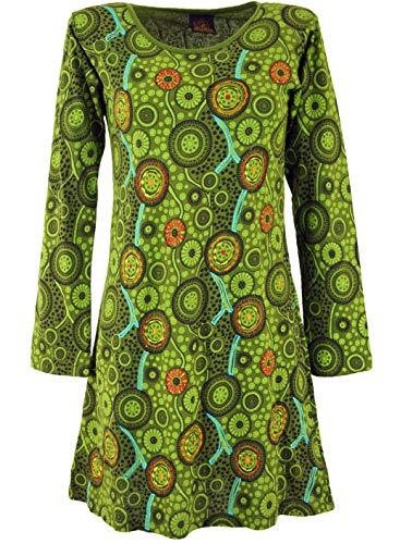 GURU SHOP Hippie Minikleid Chic, Tunika, Damen, Grün, Baumwolle, Size:XL (42), Kurze Kleider Alternative Bekleidung