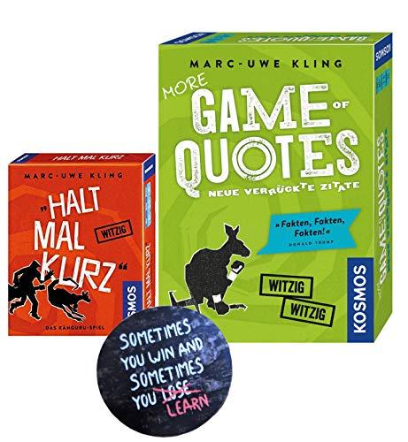 More Game of Quotes + Halt mal kurz, Kartenspiel von Marc-Uwe Kling + Exit-Sticker