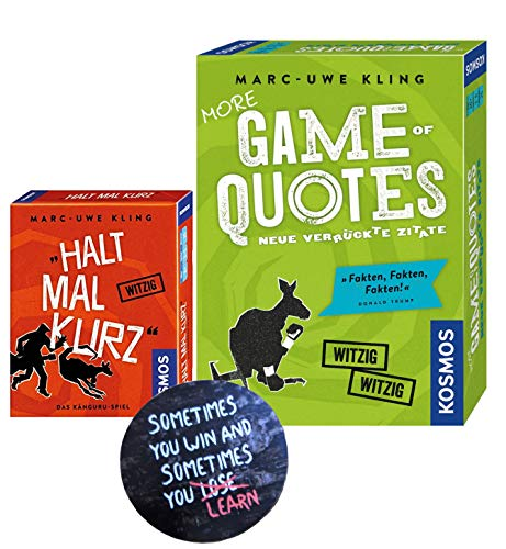 More Game of Quotes + Halt mal kurz, Kartenspiel von Marc-Uwe Kling + Exit-Sticker