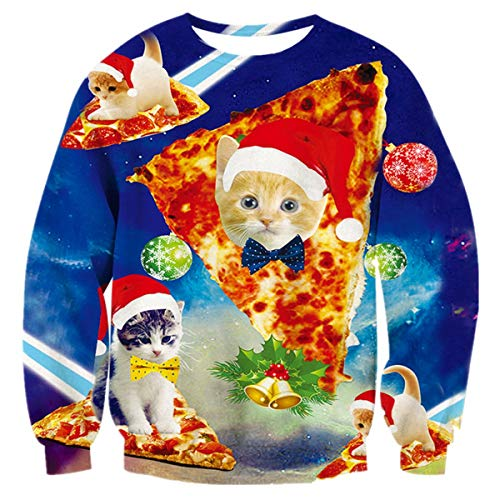Fanient Unsiex Pizza Cat Christmas Sweater for Men Women Ugly Sweatshirt Pullover Sweat Shirts