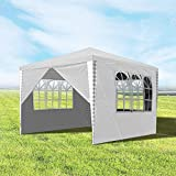 wolketon Pavillons 3x3m Gartenpavillon mit 4 Seitenteile Weiß Partyzelt für Camping Hochzeit und Festival