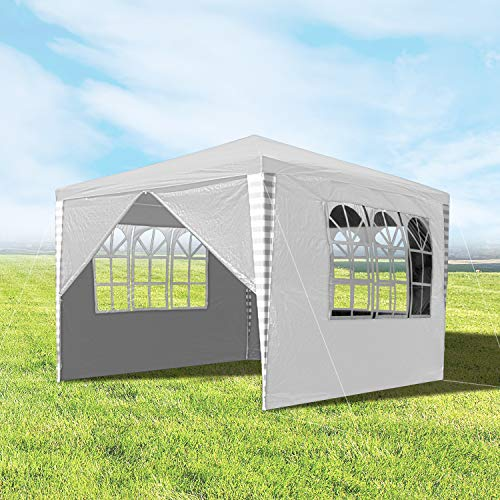 wolketon 3x3M Gazebo Marquee Tent Waterproof with 4 Sides Panels UV Protection party tent for Garden Camping White
