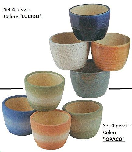 Vaso in Ceramica (SET 4 PEZZI) / Colore 'LUCIDO' oppure 'OPACO' (Specificare nel messaggio la scelta!) - (Cm.11,5 diam. x 8h.)