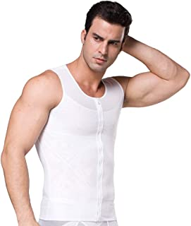 BaronHong Original Zip Up Men's Chest Compression Shirt to Hide Gynecomastia Moobs
