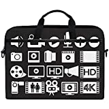 Película De Video Negro Iconos Multimedia Patrón Multifuncional Maletín para Computadora Portátil Bolso para Tableta Totalizador Estuche para Computadora Bolso para La Mayoría De Las Personas