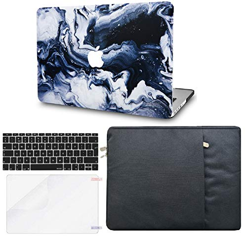 KECC Laptop Case for MacBook Air 13' w/Keyboard Cover + Sleeve + Screen Protector (4 in 1 Bundle) Plastic Hard Shell Case A1466/A1369 (Black Grey Marble)