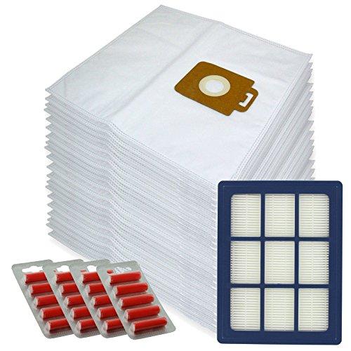 Spares2go Sacs d'Chiffon de nettoyage en microfibre + H12 Filtre HEPA pour Nilfisk Power P40 + Allergy Aspirateur (lot de 20 + cartouche de filtre + désodorisants)