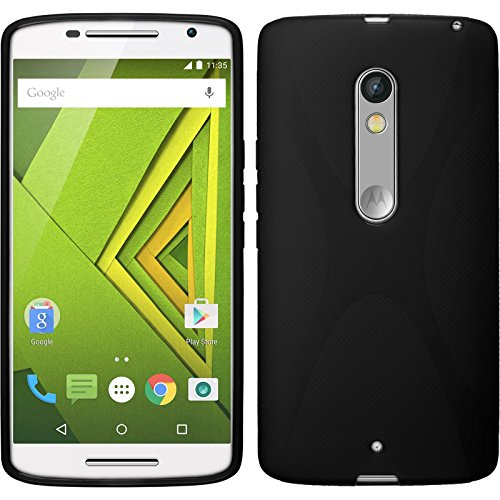 PhoneNatic Case kompatibel mit Motorola Moto X Play - schwarz Silikon Hülle + 2 Schutzfolien