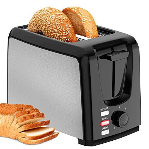 Toaster 2 Slice Wide Slot 2 Slice Toaster Best Rated with Bagel/Defrost/Cancel Function Cool Touch Black Toaster for Bread Bagel with Removable Crumb Tray (Renewed)