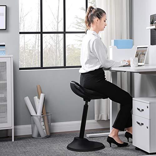 "SONGMICS Standing Desk Chair, Adjustable Ergonomic Standing Stool, 23.6""-33.3"", Swivel Sitting Balance Chair, Anti-Slip Bottom Pad, Black UOSC02BK"