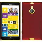 PhoneNatic Hülle kompatibel mit Nokia Lumia 1520 - Hülle rot gummiert Hard-case + 2 Schutzfolien