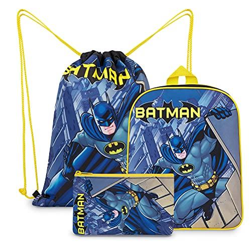 DC Comics Batman Rucksack Kinder Set 3-teilig mit Kindergartenrucksack Jungen, Turnbeutel Kinder, Federtasche Junge