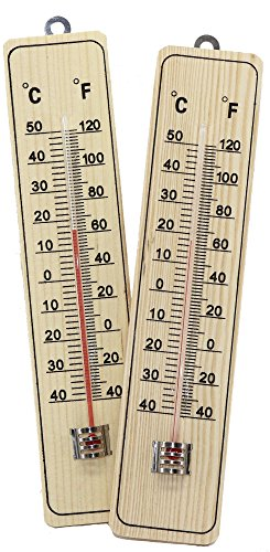 RMB® 2er Set Thermometer aus Holz ca.22 x 5 cm analog