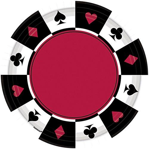 Preisvergleich Produktbild Amakando Partyteller 8 Casino Teller Place Your Bets 17, 7 cm Partygeschirr Las Vegas Speiseteller Pizzateller Tischdeko Essteller Spieleabend Pappteller Einwegteller Grillteller Partyteller
