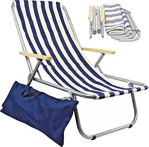 Liegestuhl klappbar aus Aluminium, Camping, zusammengeklappt in eine Tasche, tragfähig bis zu 150 kg, leicht zu transportieren, zeichnet Sich durch eine natürliche Baumwollpolsterung aus