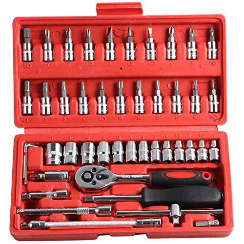 Accrie 46-delige 1/4-inch doppenset auto reparatie gereedschap ratel set koppel moersleutel combinatie bit