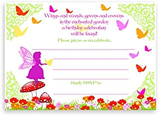 POP parties Garden Fairy Large Invitations - 10 Invitations 10 Envelopes