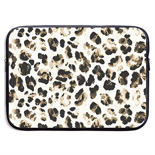Leopard Print Pattern Black Watercolor 13' 15' inch Laptop Sleeve Case Cover Compatible Samsung Google Acer HP DELL Lenovo Asus Neoprene Waterproof Case