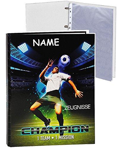 alles-meine.de GmbH Zeugnismappe / Ordner - Zeugnisse -  Fußball Champion  - incl. Namen - incl. Einsteckseiten - Ringbuch / Sammelordner - Dokumentenmappe A 4 - Ringordner - f..